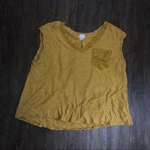Anthropologie XL tshirt yellow